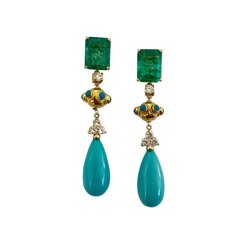Michael Kneebone Michael Kneebone Zambian Emerald Diamond Persian Turquoise Dangle Earrings