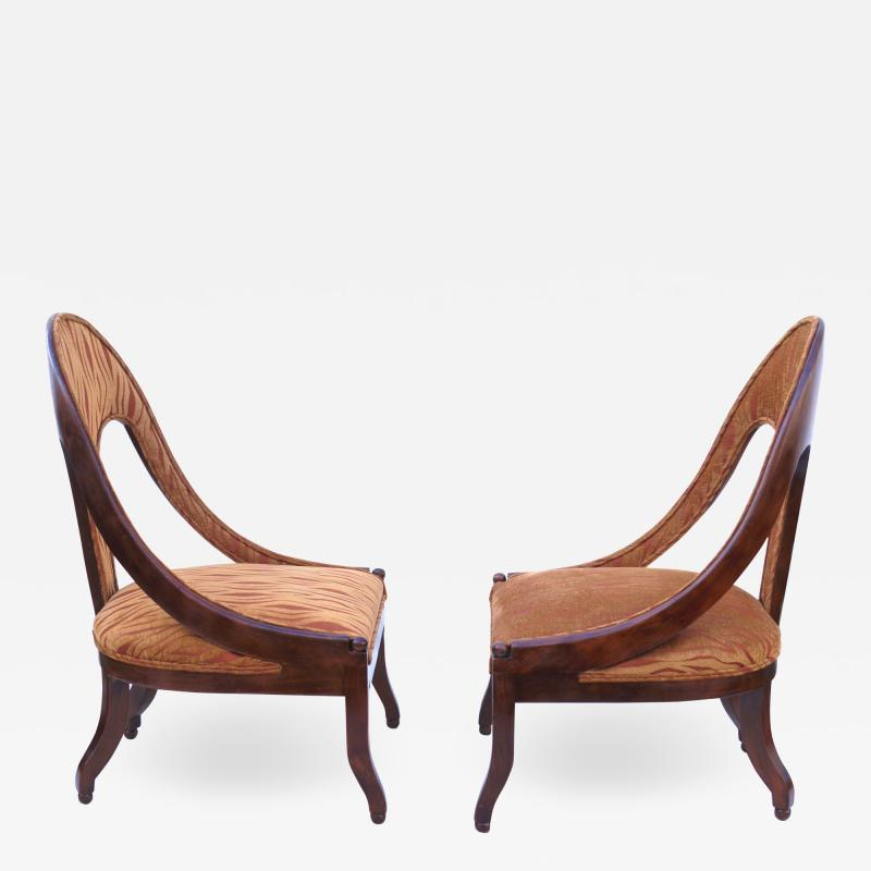 Michael Taylor Pair of Michael Taylor for Baker Mid century Spoon Back Slipper Lounge Chairs