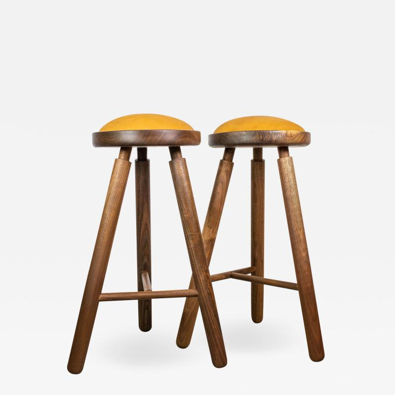Micheal Rozell Pair of Michael Rozell Studio Bar Stools Figured Walnut and Leather