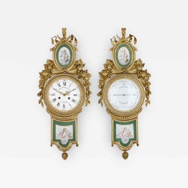 Michel Balthazar Gilt bronze and porcelain clock and barometer set by Michel Balthazar