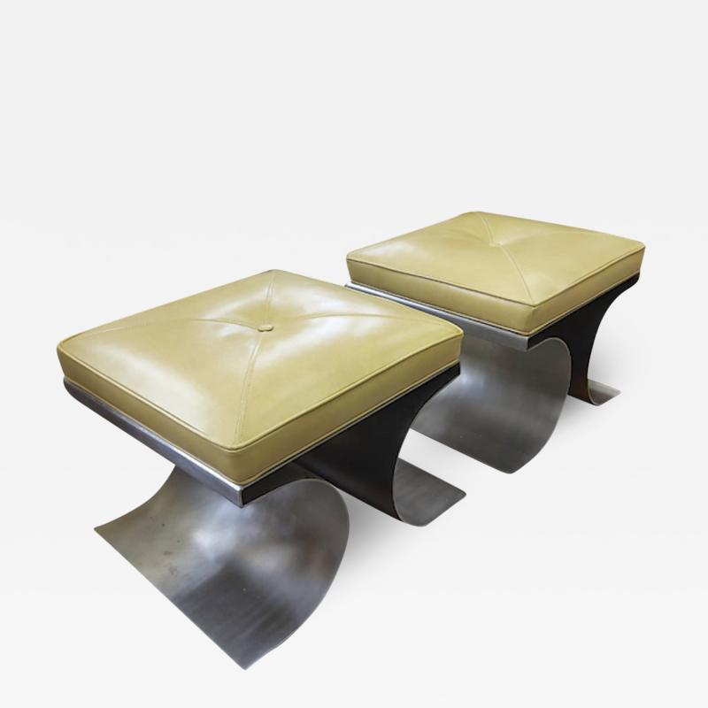 Michel Boyer Michel Boyer iconic pair of bruised steel and leather stool