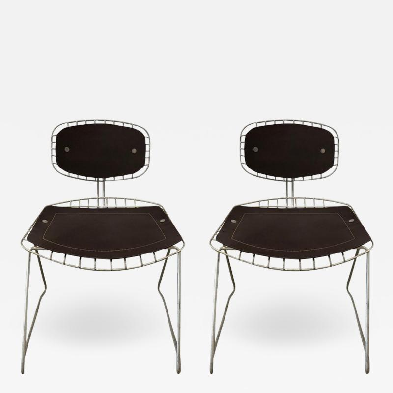Michel Cadestin Georges Laurent Pair of Beauborg wire and leather stacking chairs