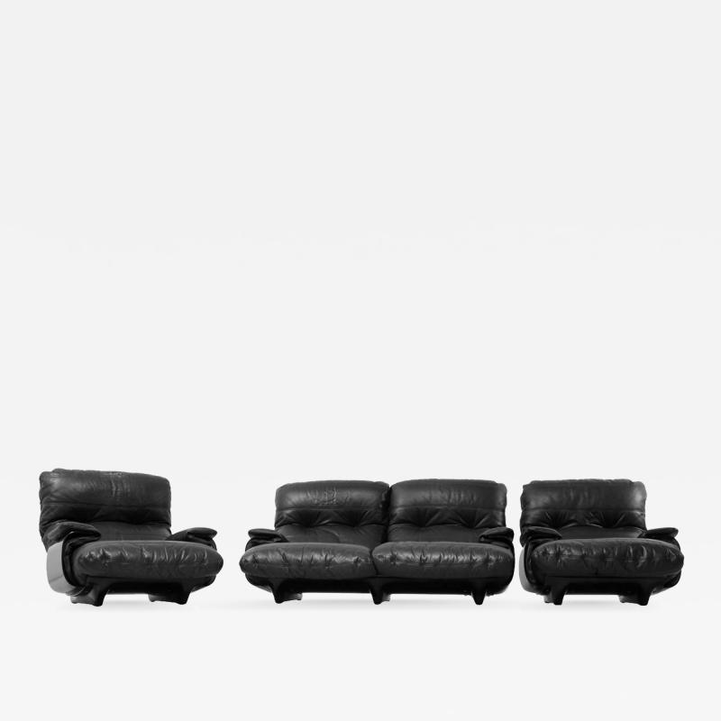 Michel Ducaroy Ducaroy Ligne Roset Sofa Set in Brown Perspex with Black Leather