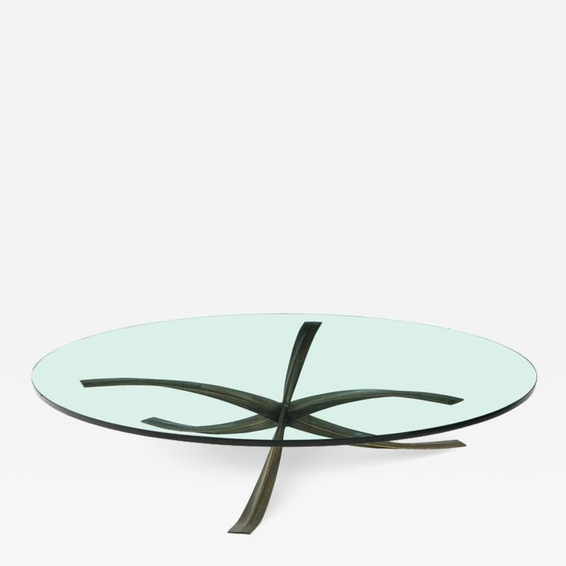 Michel Mangematin Rare Large Michel Mangematin Bronze Coffee Table 1962