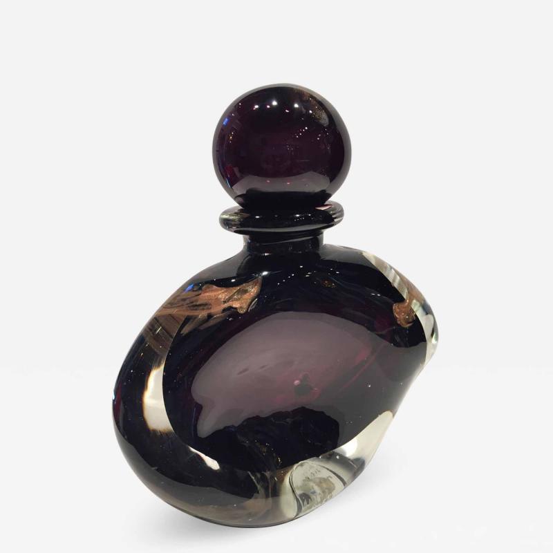 Michele Luzoro Michele Luzoro French Massive Purple Gold Fleck Perfume Bottle