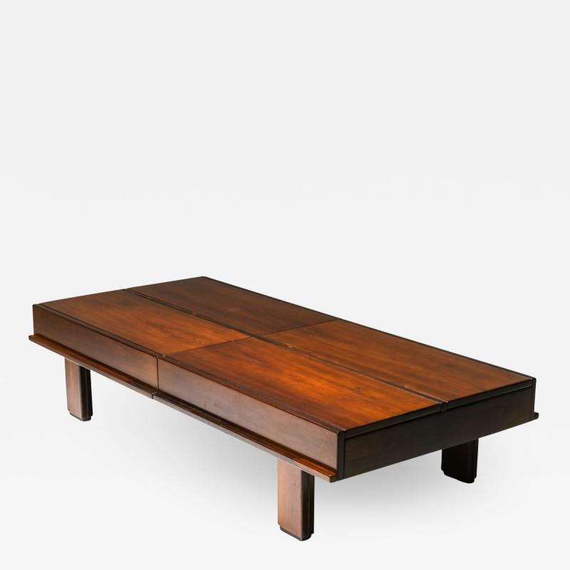 Michelluci walnut coffee table with storage 1970s