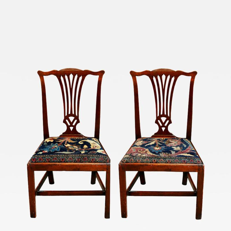 Mid 18th Century American Walnut Chippendale Chairs with Ushak Seats