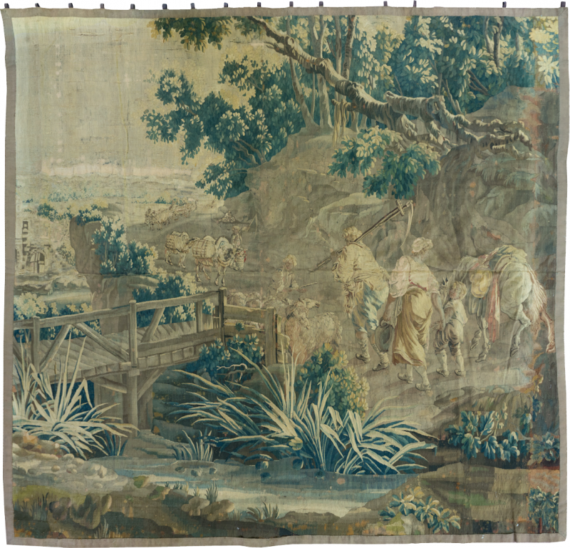 Mid 18th Century Square Century French Aubusson Green Landscape Tapestry