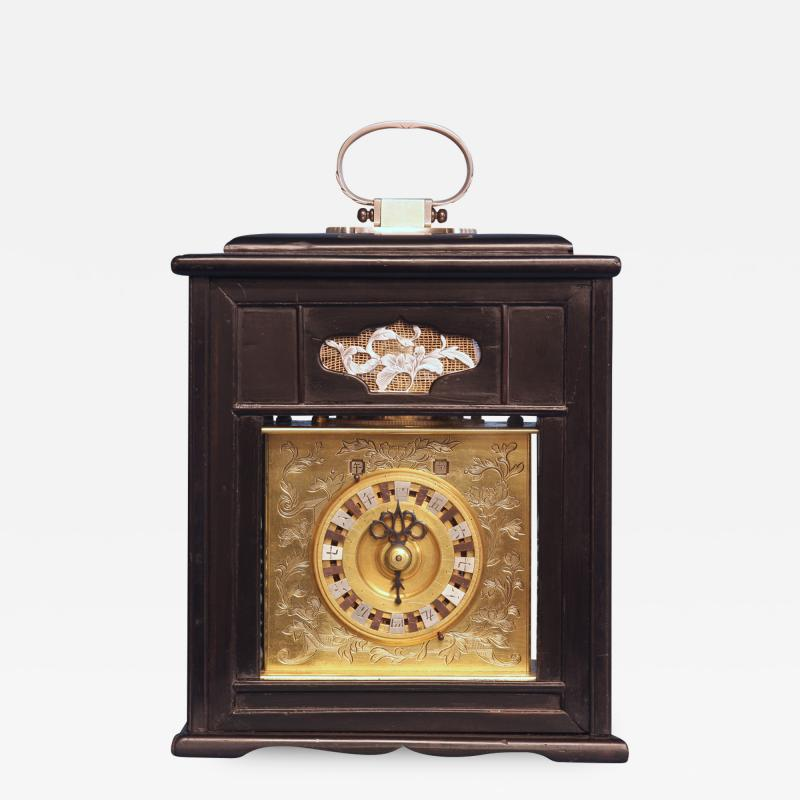 Mid 19th Century Japanese Bracket Clock with Original Case