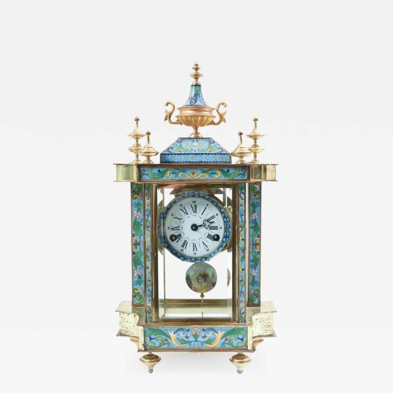 Mid 20th Century Brass or Glass Frame Mantel Clock