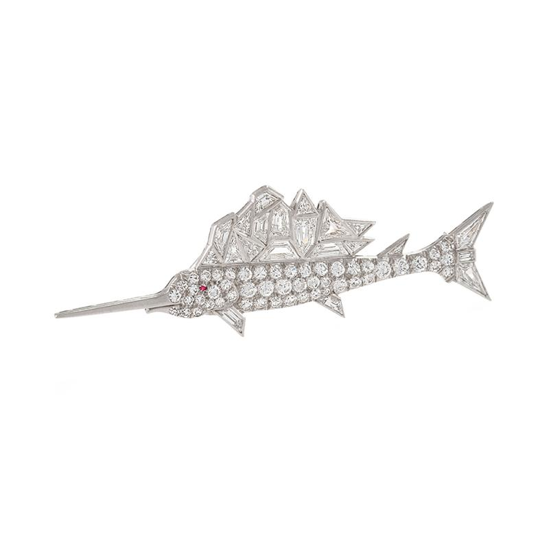 Mid 20th Century Diamond and Platinum Sailfish Brooch