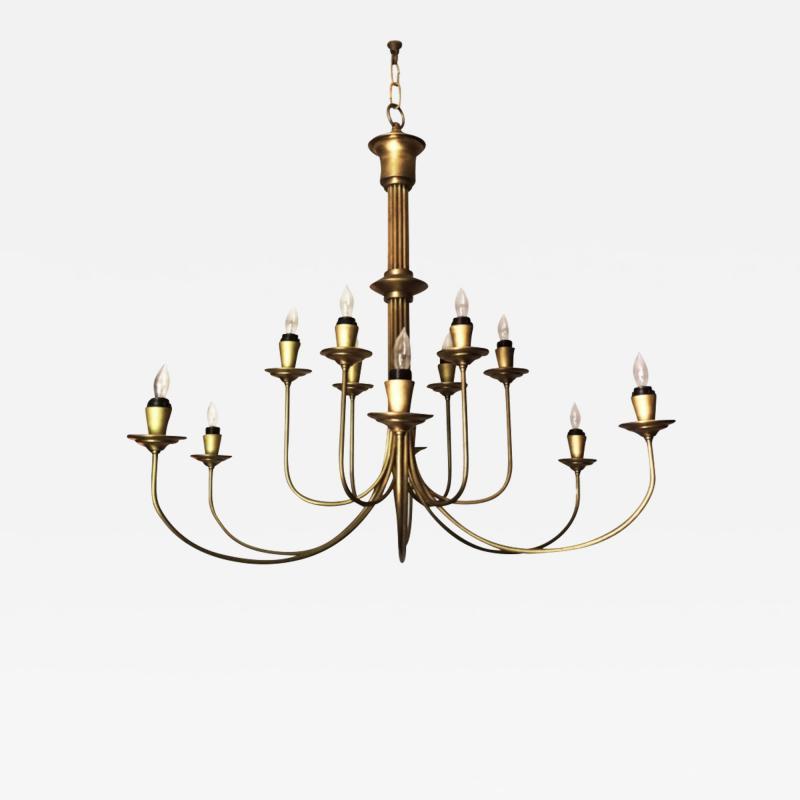 Mid 20th Century Modern Twelve Light Brass Chandelier