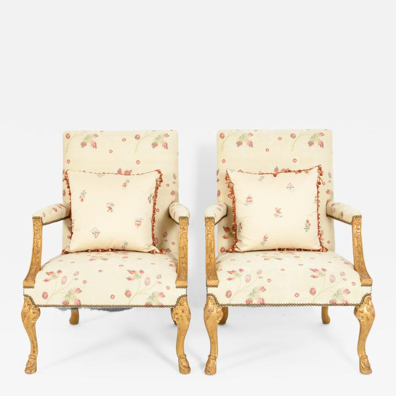 Mid 20th Century Pair of Giltwood Frame George II Style Armchairs