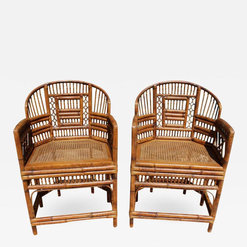 Mid 20th Century Pair Of Oriental Bamboo Sofa Chairs