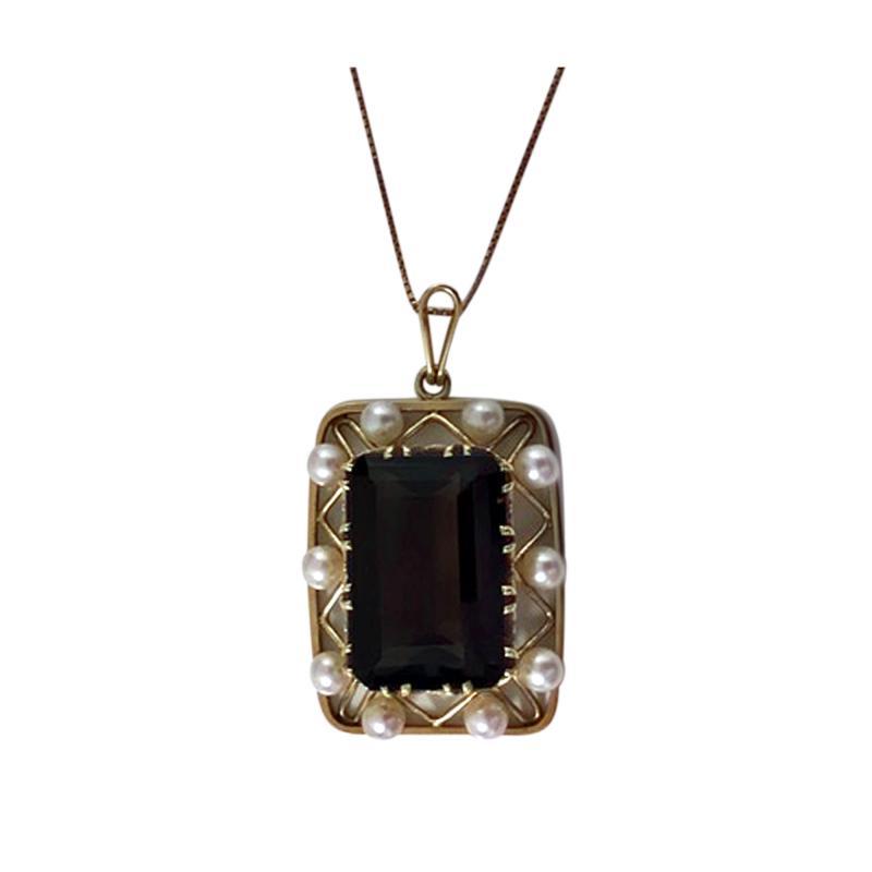 Mid Century 14K Quartz and Cultured Pearl Pendant Necklace C 1960