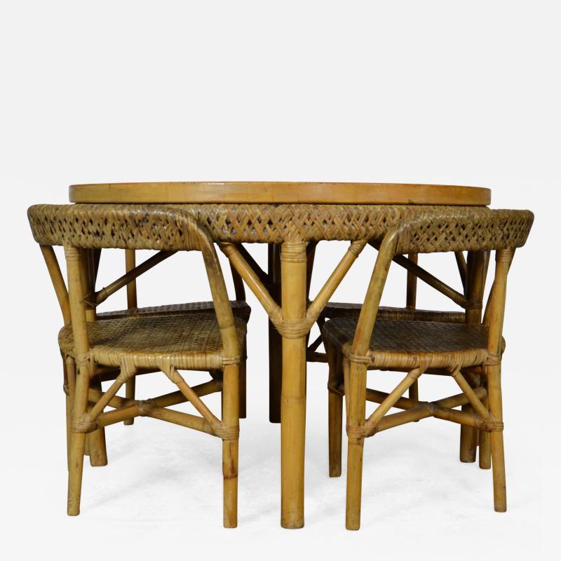 Mid Century Bamboo Dining Set