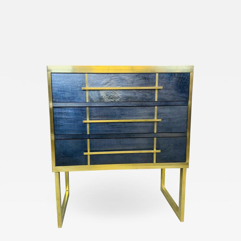Mid Century Blue Black Chest of Drawers Italy