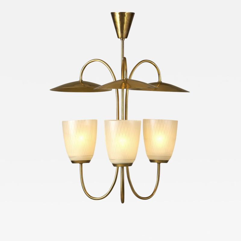 Mid Century Brass and Glass Ceiling Lamp Scandinavia 1950s