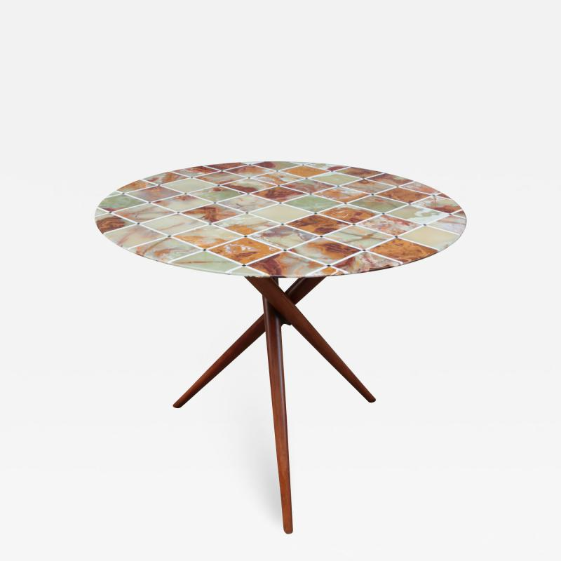 Mid Century Center Table With Fine Inlaid Stone Top
