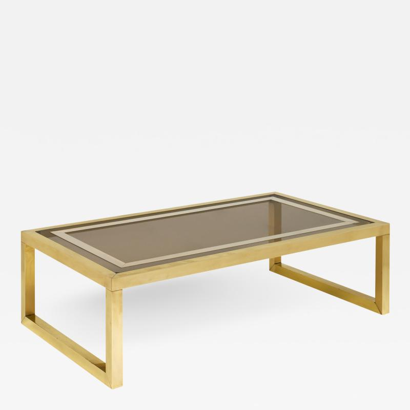 Mid Century Coffee Table with Brass and Smoked Glass