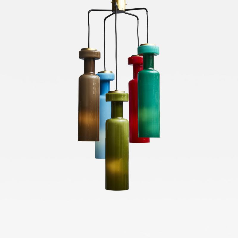 Mid Century Colorfull Suspended Glass Chandelier