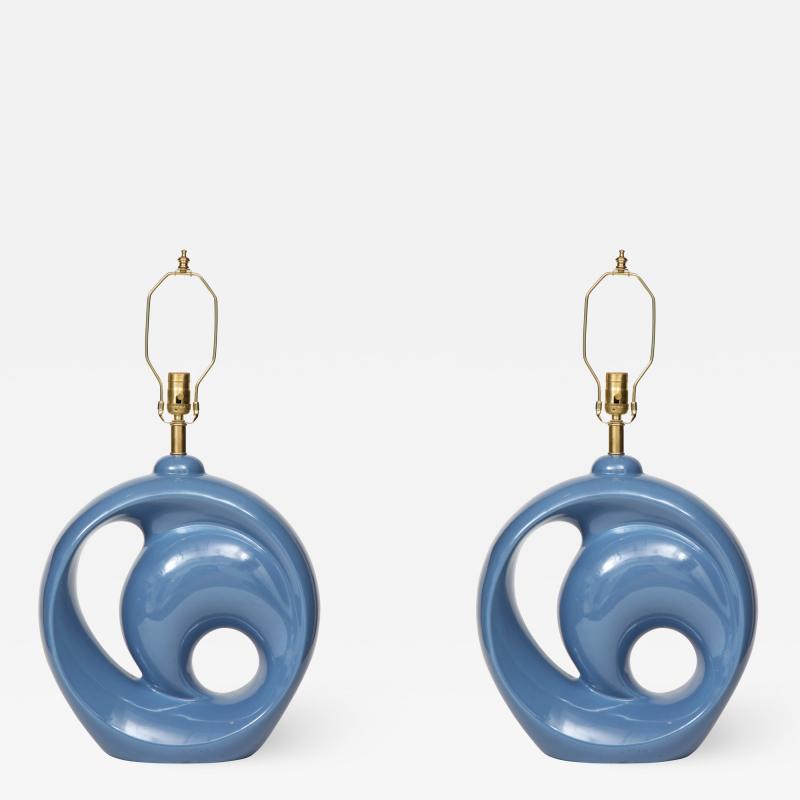 Mid Century Conflower Blue Porcelain Lamps