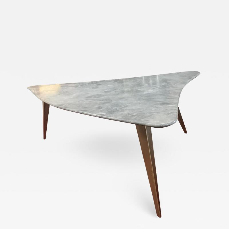 Mid Century Grey Marble and Brass Coffee Table Italy 1960s