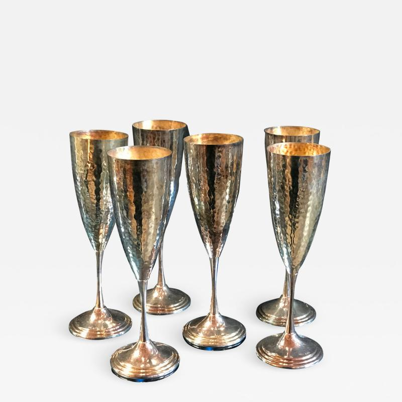 Mid Century Hand Hammered Silver Set 6 Glasses Italy 1950s