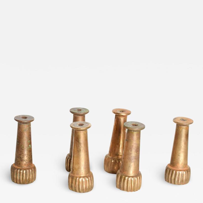 Mid Century Hollywood Regency Italian Brass Sabot Legs Set of 6