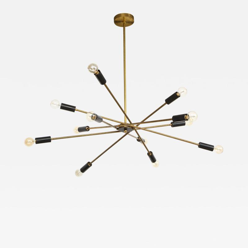 Mid Century Italian Black and Brass Sputnik Chandelier