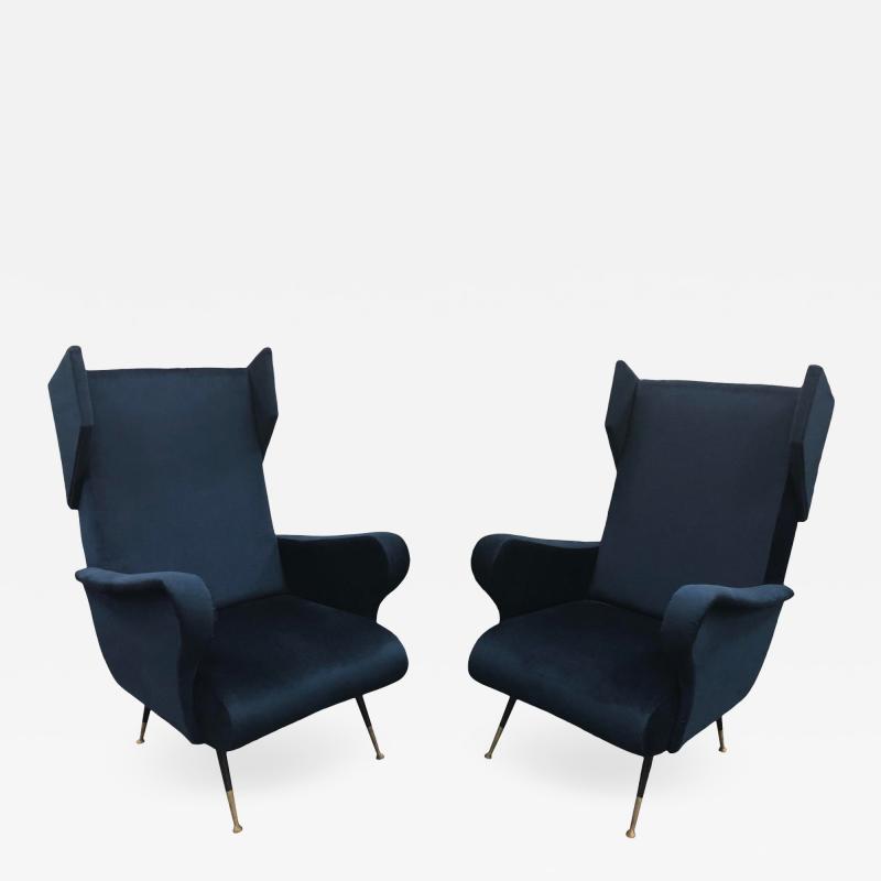 Mid Century Italian Wing Chairs by Marco Zanuso