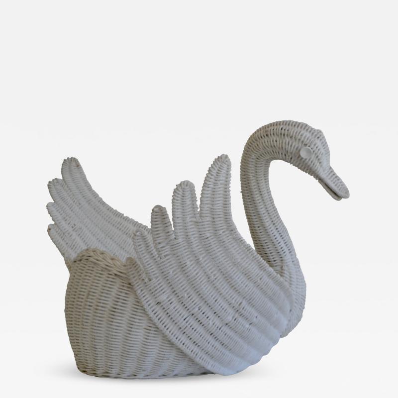 Mid Century Italian Woven Rattan Swan Form Basket