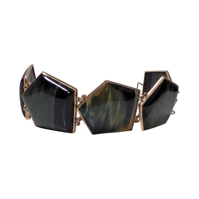 Mid Century Labradorite and Gold Bracelet probably Scandinavian C 1970