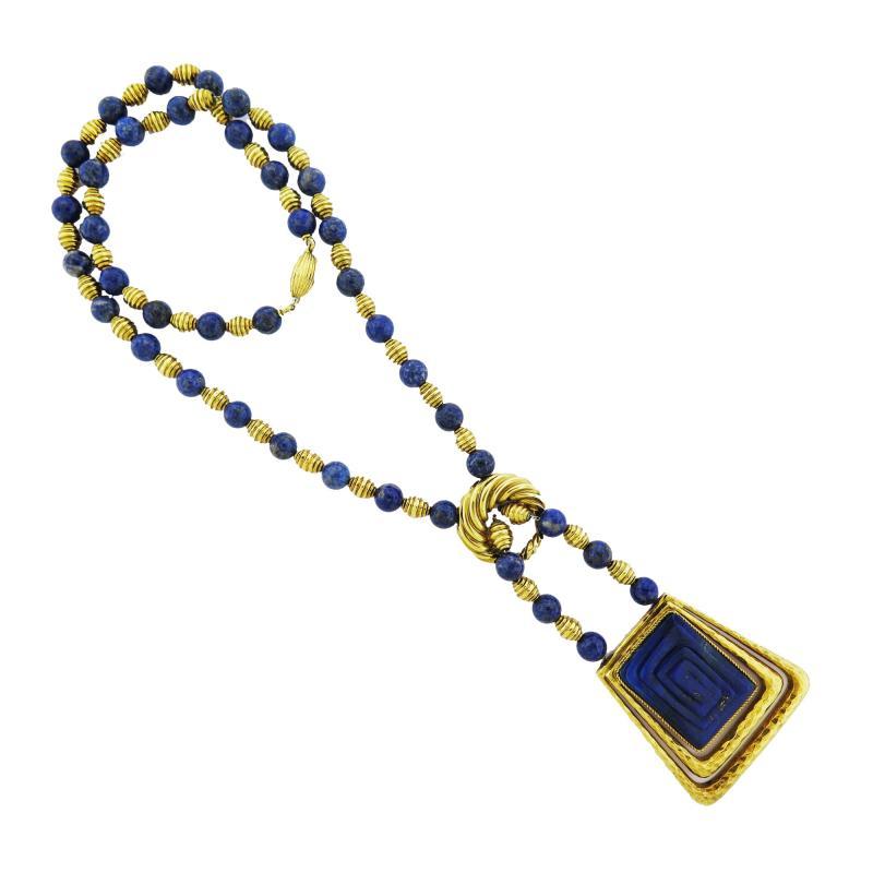 Mid Century Lapis Bead and Gold Drop Pendant Chain