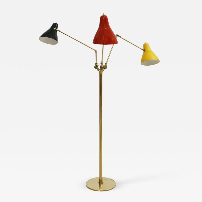 Mid Century Modern Brass Italian Floor Lamp 1950
