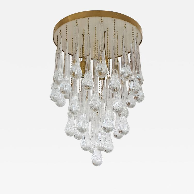 Mid Century Modern Brass and Murano Clear Glass Drops Flush Mount ceiling Light