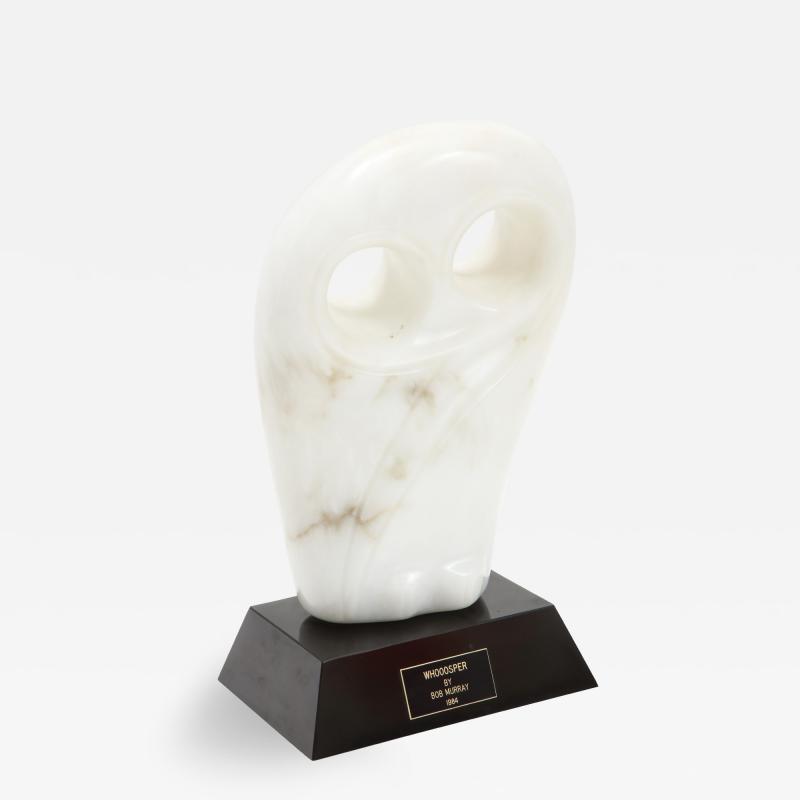 Mid Century Modern Carrara Marble Abstract Owl Sculpture