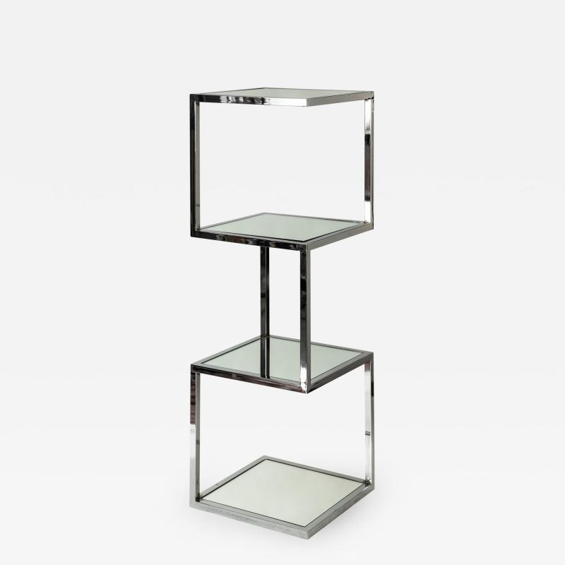 Mid Century Modern Chrome and Mirror Glass 4 Shelf Etagere