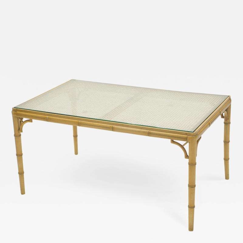 Mid Century Modern French Riviera Cane Bamboo coffee table 1960s