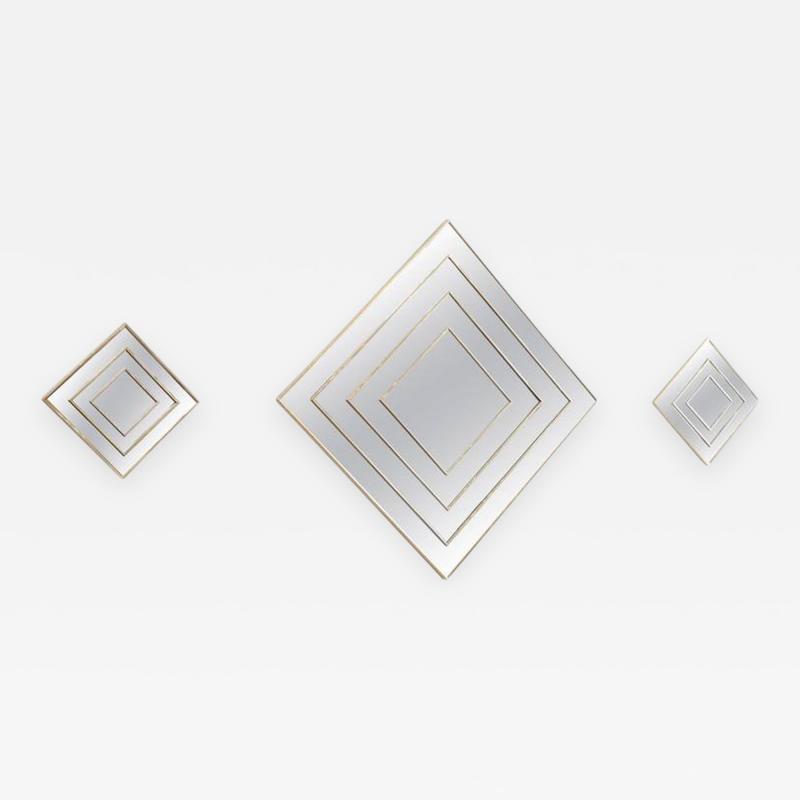 Mid Century Modern Gold Tone Multi Border S 3 Diamond Shaped Wall Mirrors