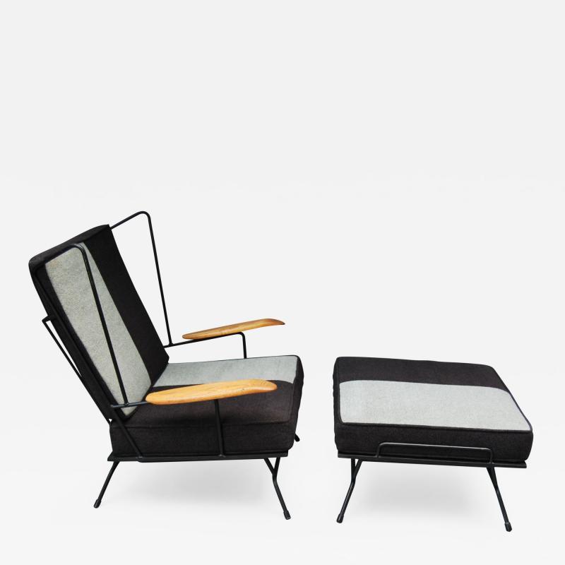 Mid Century Modern Iron Chair and Ottoman ca 1950s