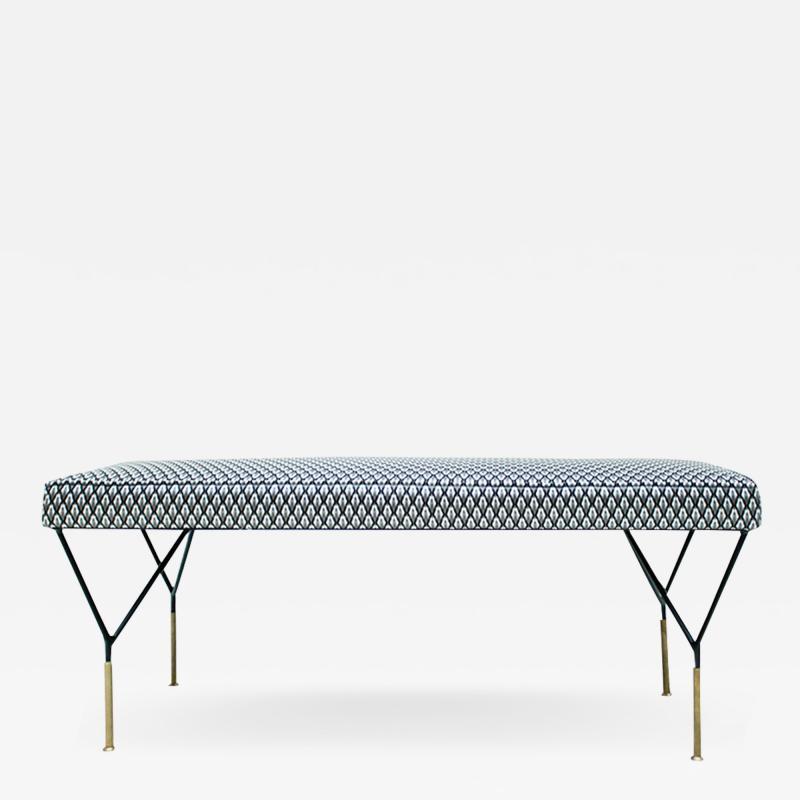 Mid Century Modern Italian Black Lacquered Iron Brass Footstool