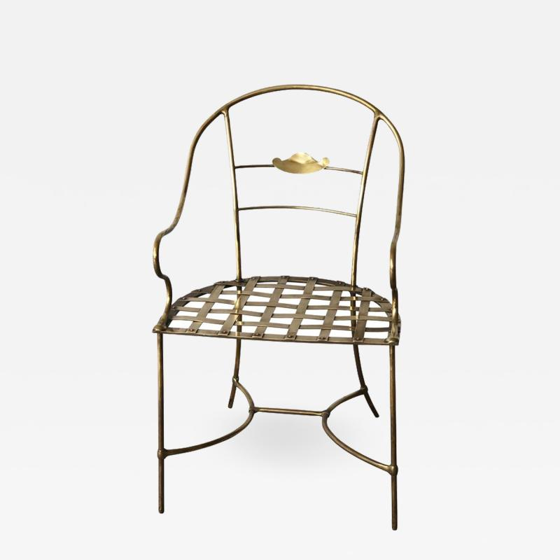 Mid Century Modern Italian Brass Artists Designers Decorative Armchair