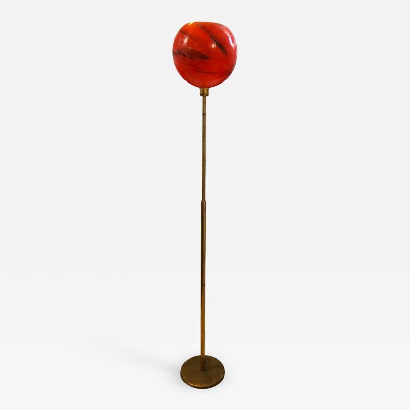 Mid Century Modern Italian Brass and Red Glass Floor Lamp circa 1950