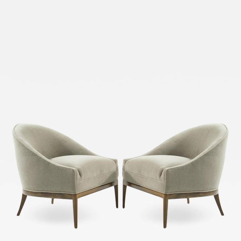 Mid Century Modern Lounge Chairs in Mohair 1950s
