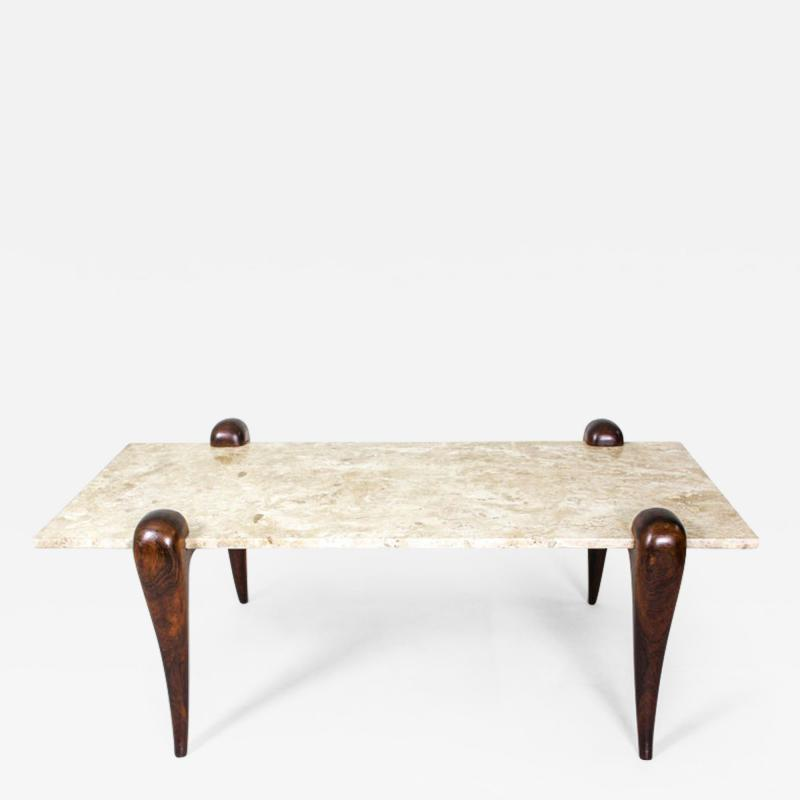 Mid Century Modern Marble Top Rosewood Center Table Brazil 1950s