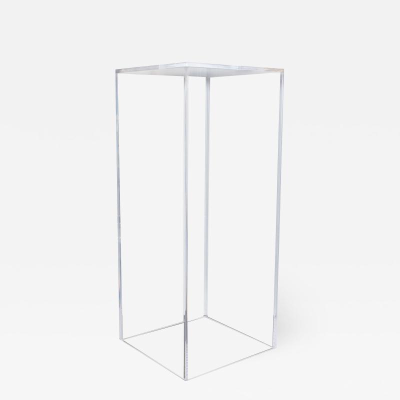 Mid Century Modern Minimalist Volumetric Rectangular Translucent Lucite Pedestal