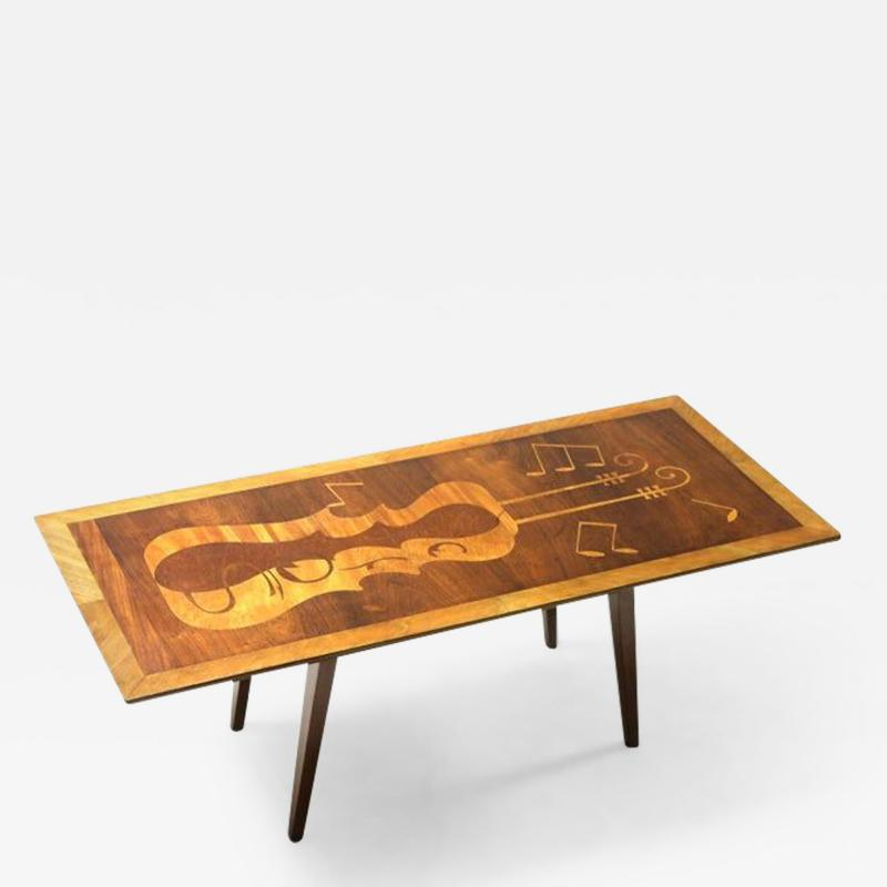 Mid Century Modern Musical Theme Marquetry Coffee Cocktail Table Brazil 1950s