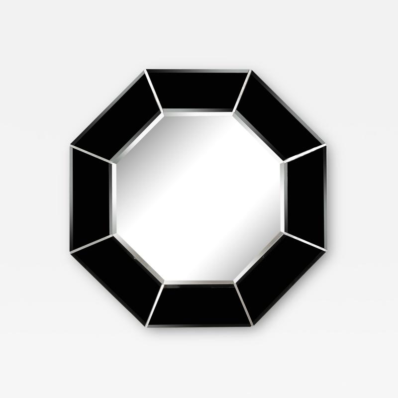 Mid Century Modern Octagonal Beveled Smoked Mirror with Brushed Aluminum Inserts
