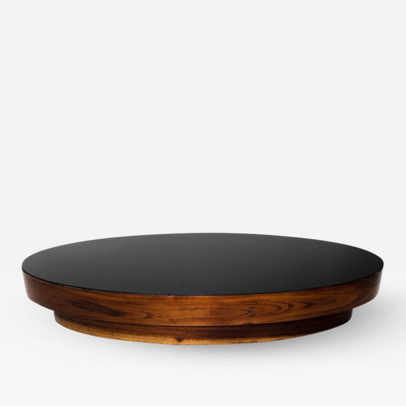 Mid Century Modern Opaline Glass Top Oval Center Table Brazil 1960s